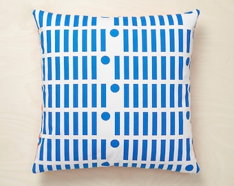 Line Dot Cushion Cover - Hand Screen Printed Ultramarine Blue and Orange 100% Cotton