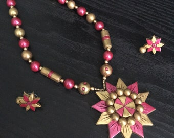 Ethnic handmade Terracotta necklace and earring