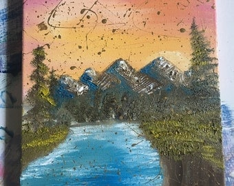 Pink skies - oil painting - acrylic painting - original painting - landscape painting