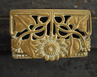 Art Nouveau brass stamp box / openwork sunflower pattern / his and hers ringstorage box with 2 compartments / Original Vintage gift idea.