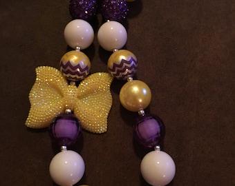 LSU Inspired Bubblegum Necklace