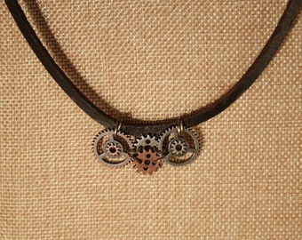 Steampunk Gear Pendant on Brown Leather Necklace