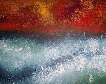 Abstract Seascape-Original Painting-Acrylics on Reclaimed Wood-Abstract Wall Art by Kathy Gray Artist