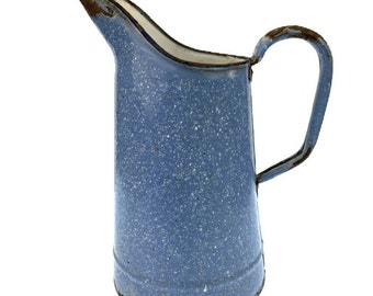 French Blue and White Porcelain Enamel Vintage Pitcher, Enameled Shabby Chic Pitcher, Primative Enamel Water Pitcher Container, Enamel Jug
