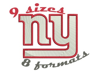 9 Sizes New York Giants Inspired Machine Embroidery Designs in 8 formats and 9 sizes