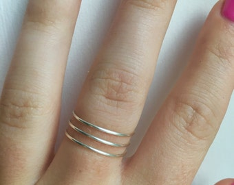 Silver Stacked Spiral Ring