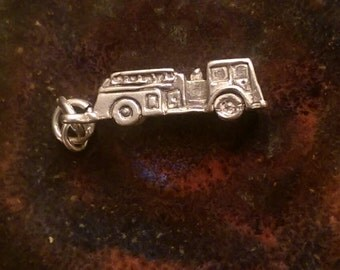 Vintage sterling silver fire truck figerfighter  charm necklace pendant or keychain charm