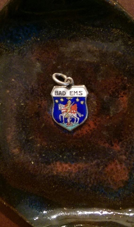Vintage Bad Ems Germany silver enamel travel shield charm
