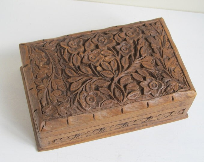 Wooden jewellery box, vintage carved business card box, office desk tidy, general storage stowage box, ornate with flowers