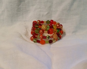 Bright Colors - Reds, Oranges, Greens, and Yellows Wrap Bracelet