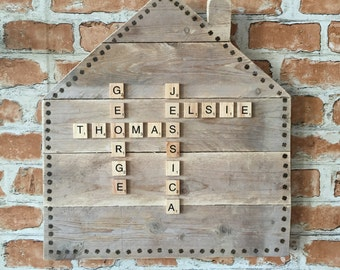Personalised Wooden Family Plaque with Scrabble Letter Names
