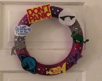 Hitchhiker's Guide to the Galaxy Custom Yarn Wreath