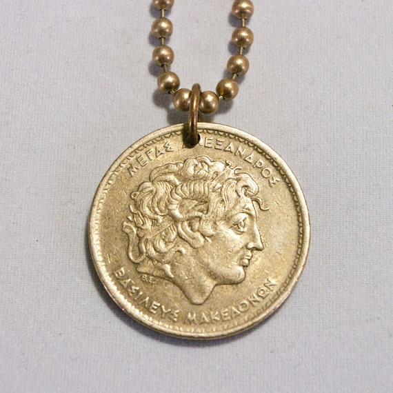 items similar to greece alexander the great coin necklace
