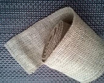 Burlap / Jute / Hessian Ribbon 8cm Wide Natural Overlocked