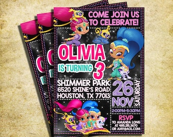 Shimmer And Shine Invitation - Shimmer And Shine Chalkboard Birthday Invite - Printable And Digital File