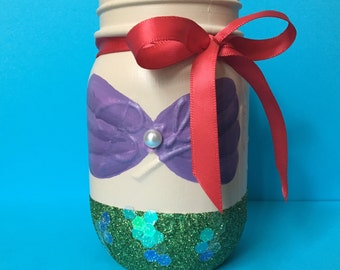 Mermaid mason jar - little mermaid - ariel disney princess
