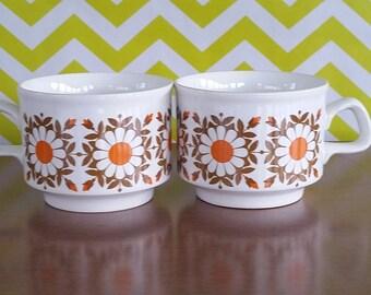 2 Vintage Mod Staffordshire Potteries Brown and Orange Flower Mugs