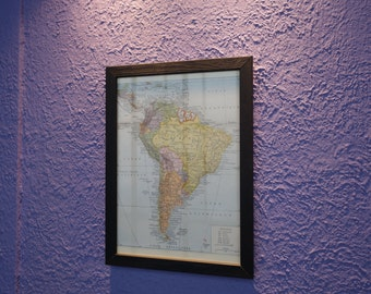 Old South America map (1924) - original vintage of South America in 1924 color map (21cm x 29, 7cm)-sold box