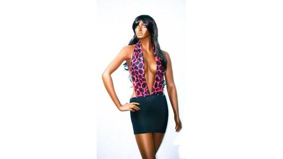 New Exotic Dancewear Stripper Club Deep Neck Printed Dress and matching thong..