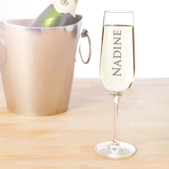 Champagne Flute with Engraving- Personalised with Name