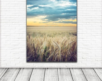 golden ears of wheat sky during storm Art Print Printable Wall Art Photography Wall Art Digital Download Nature print