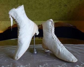 1875 Wedding Cotton Sateen Lace Boots, antique shoes, antique boots, wedding dress, Victorian shoes, ca. 1875