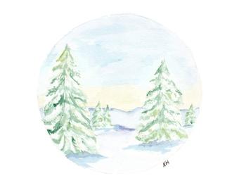 Snow landscape -Print A3, Pine trees, Watercolour Art Print, Circle Snow Art