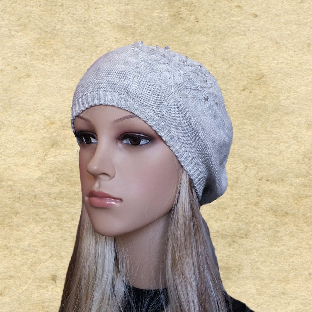 Knitting Pattern For Womens Beret : Womens knit beret Knitted wool beret Ladies wool beret