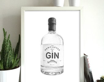 Newcastle Gin Print Newcastle Gin Art Gin Print Gin Wall Art Alcohol Print Gin Bottle Print Fathers Day Gin Gift Birthday Gin