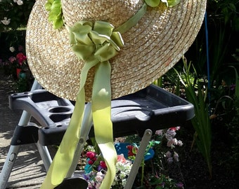 Custom made to your liking, this charming straw hat looks great hanging on the front door to greet your guests!