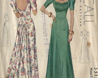 1939 Vintage Sewing Pattern EVENING DRESS B34 (1168) McCall 3313