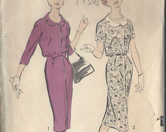 "1950s Vintage Sewing Pattern B37"" DRESS (R716) Advance 8857"