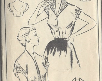 1950s Vintage Sewing Pattern B34 BOLERO & BLOUSE - Embroidery Transfer (R741) Woman 458