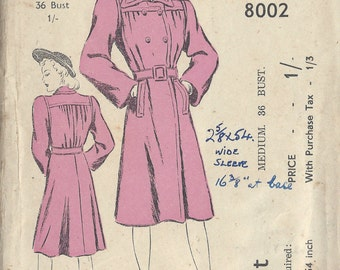 1940s WW2 Vintage Sewing Pattern B36 COAT (1082) Blackmore 8002