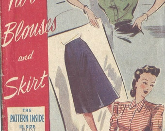 1940s WW2 Vintage Sewing Pattern B32 BLOUSE & SKIRT (1362R) Weldons 86