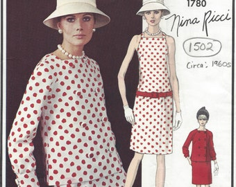 1960s Vintage VOGUE Sewing Pattern B34 DRESS & JACKET (1502) By Nina Ricci  Vogue 1780