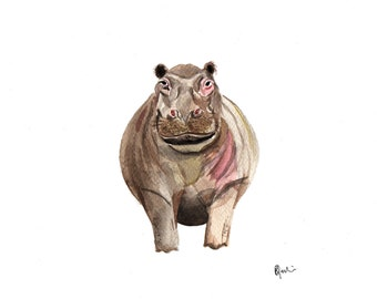 A5 Hippo Watercolour Print - Original Handmade Art Print