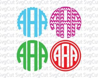 4 Monogram circle font bundle - Font alphabet monogram - Circle font letters - Scalloped Chevron Outlines Circle fonts - Digital monograms