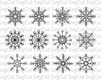 Snowflakes collection - Snow cut file SVG - Snowflake collection Svg - Winter Christmas Svg - Svg Cut  - Snow svg files - Silhouette snow