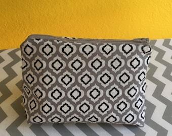 """7"""" Grey & Black Cosmetic Bag"""