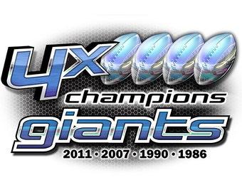 Giants 4x Champions New York T-shirt, tank or sleeveless M L XL 2X 3X 4X 5X Women Ladies Men NEW