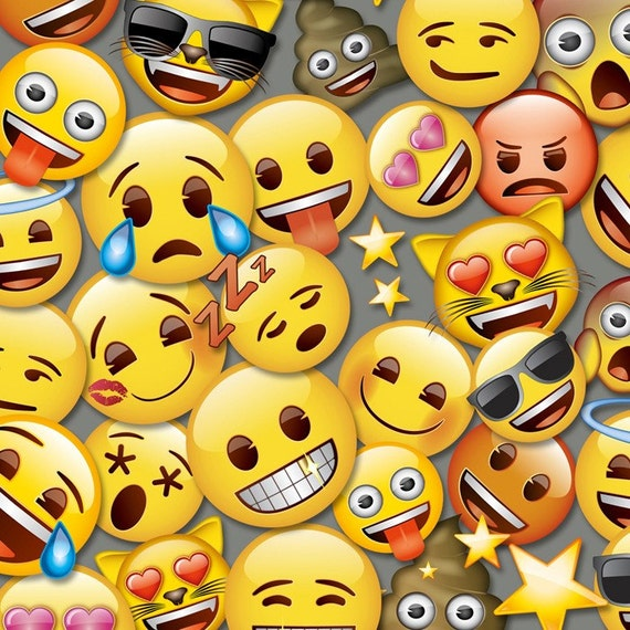 All the emoji cotton fabric by the yard grey david textiles free shipping available emoji for Emoji material by the yard