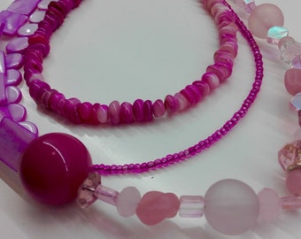 Pink multi strand necklace, pink bead necklace, pink multi strand jewellery pink multi strand Jewelry, pink statement jewellery, pink beads