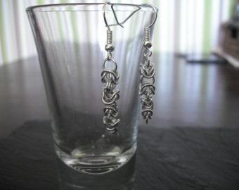 Byzantine weave chainmail earrings