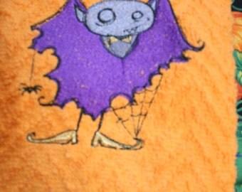 Primitive Vampire Kitchen Towel, vampire, towel, tea towel, dish towel, Embroidery, embroidered towel, Halloween,Gift