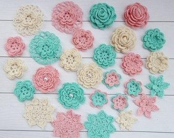 Set crochet flowers(28pcs) for scrapbooking,wedding jewelry,headband and accessories