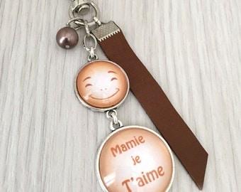 Mamie , cadeau mamie porte-clés bijou de sac a message  mamie je t'aime orange .REF.47