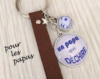 cadeau papa porte-clés homme a message thème un papa qui déchire bleu . dad, dad gift , REF.51