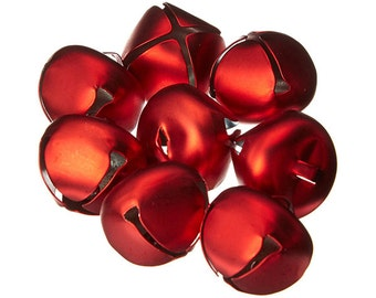 8 Red Jingle Bells, 25mm (1 Inch), Matte Finish