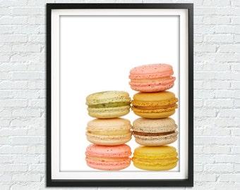 French Macaron Print, Maracon Poster, Macarons Printable, Macaroon Wall Art, Kitchen Decor, Macaron Illustration, French Bakery Art